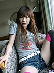 Adorable Asian teen in short shorts shows nice ass