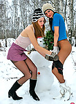 Hot pantyhosed babes in skimpy outfits going wild while playing in the snow