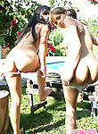 Two hot little teens play out doors with each other