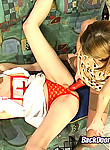 Filthy lesbian nurse getting her tight bumhole examined with huge strap-on